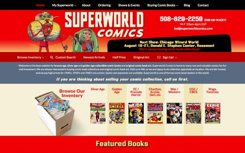 Screenshot of Home Page superworldcomics.com - Superworld Comics – Comic Books, Buying Selling Appraisals Comic Collections Superworld Comics - captured Aug. 18, 2016