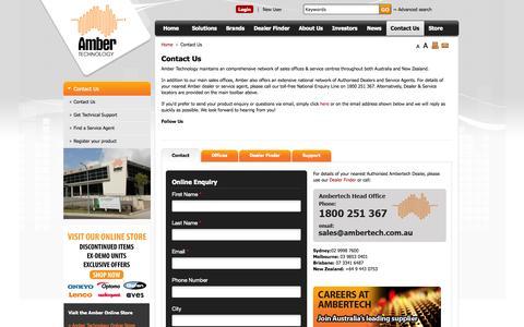 Screenshot of Contact Page ambertech.com.au - Contact Us - Home Cinema Equipment - Home Theatre Equipment - captured Oct. 4, 2014