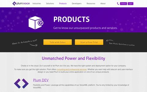 Screenshot of Products Page plumvoice.com - Advanced IVR Products from Plum Voice - captured Sept. 24, 2014