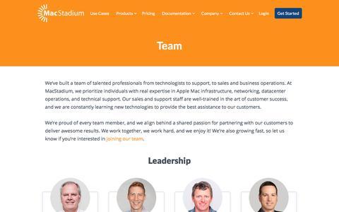 Screenshot of Team Page macstadium.com - MacStadium Team | Mac Hosting and Cloud Solutions - captured July 27, 2018