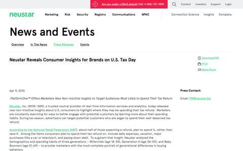 Screenshot of Press Page neustar.biz - Neustar Reveals Consumer Insights for Brands on U.S. Tax Day - captured Dec. 8, 2016
