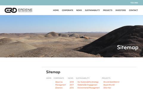 Screenshot of Site Map Page erdene.com - Sitemap | Erdene Resource Development Corp. - captured Sept. 26, 2018