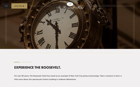 Screenshot of About Page theroosevelthotel.com - Learn About The Roosevelt Hotel, a Pillar of Midtown Manhattan - captured Nov. 7, 2018