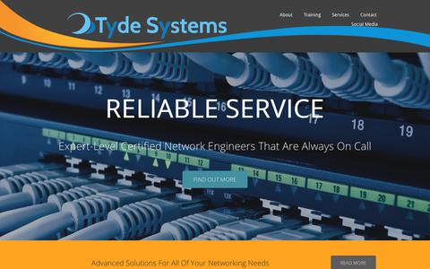 Screenshot of Home Page tydesystems.com - Tyde Systems - Your Local Leader in Computer Network Consulting - captured Sept. 21, 2018
