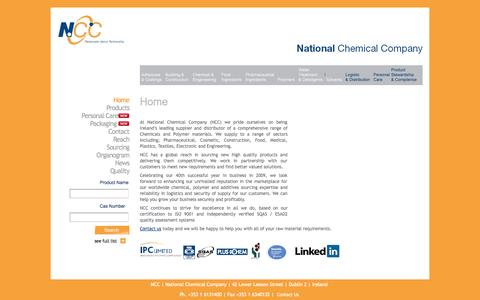 Screenshot of Home Page ncc.ie - National Chemical Company - Home - captured Oct. 6, 2014