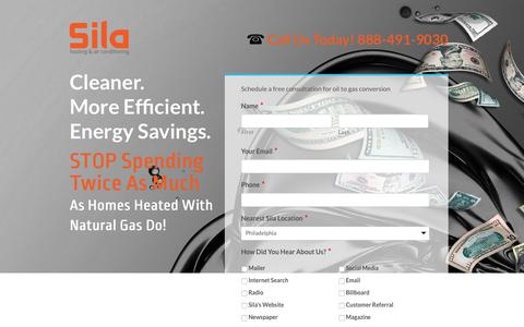 Screenshot of Landing Page sila.com - Landing Natural Gas - Sila Air Conditioning and Heating Repairs - captured Sept. 16, 2017