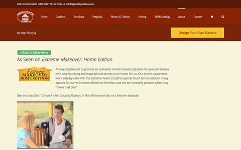 Screenshot of Press Page amishgazebos.com - Gazebo Reviews   Extreme Home Makeover   Amish Country Gazebos - captured Jan. 10, 2017