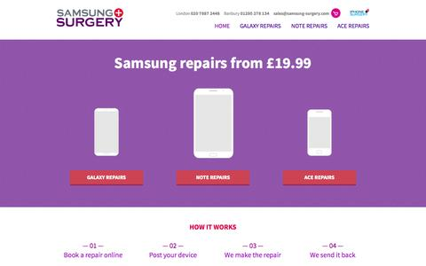 Screenshot of Home Page samsung-surgery.com - Samsung Phone Repairs   Galaxy, Note, Tab & Nexus Repairs — Samsung Surgery - captured Jan. 28, 2015