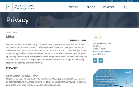 Screenshot of Privacy Page fuerstlaw.com - Privacy Policy - Fuerst Ittleman David & Joseph - captured Feb. 10, 2016