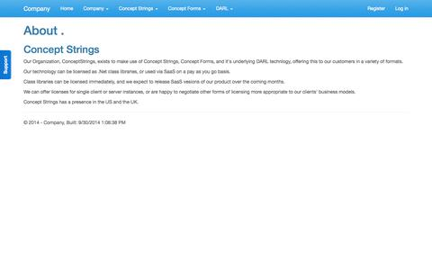 Screenshot of About Page conceptstrings.com - About - Company - captured Oct. 3, 2014