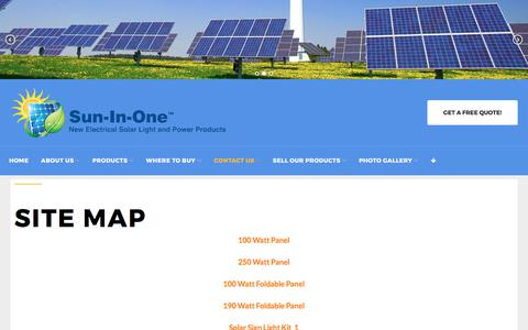 Screenshot of Site Map Page suninone.com - Site Map - Sun-In-One - captured Oct. 21, 2017