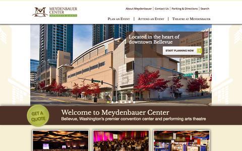 Screenshot of Home Page meydenbauer.com - Meydenbauer Convention Center Bellevue Washington - captured Oct. 6, 2014