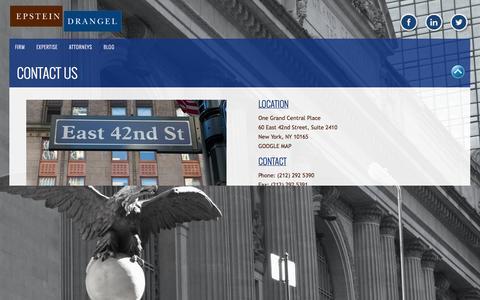 Screenshot of Contact Page ipcounselors.com - CONTACT US | EPSTEIN, DRANGEL LLP - captured Oct. 8, 2014