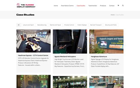Screenshot of Case Studies Page flatvision.co.uk - Case Studies - Flat Vision Products - The Rugged Display Company - captured Nov. 6, 2019