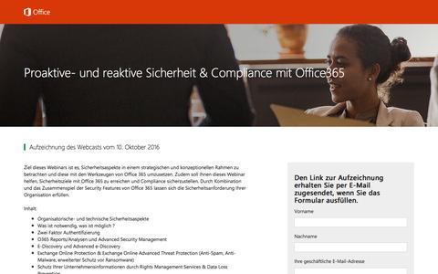 Screenshot of Landing Page office.com - Proaktive- und reaktive Sicherheit & Compliance mit Office365 - captured Oct. 22, 2016