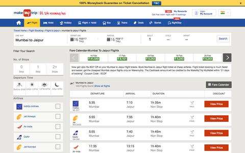 28 Flights Mumbai to Jaipur Fares @Rs.1687+Cashback | MakeMyTrip®