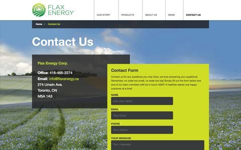Screenshot of Contact Page flaxenergy.ca - Contact Us - Flax Energy - captured Sept. 30, 2014