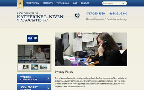 Screenshot of Privacy Page klnivenlaw.com - Privacy Policy | Law Offices of Katherine L. Niven & Associates, PC | Harrisburg, Pennsylvania - captured Oct. 6, 2014