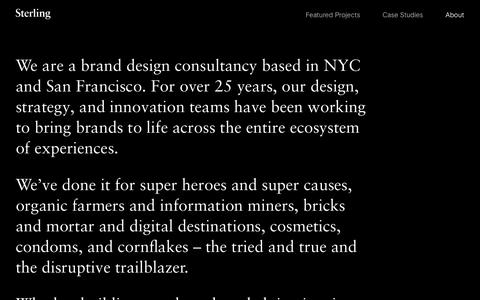 Screenshot of About Page sterlingbrands.com - About - Sterling Brands - captured Sept. 21, 2018