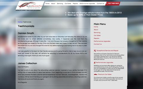 Screenshot of Testimonials Page autodeutsche.co.uk - Client Testimonials | Reviews – Autodeutsche - captured Sept. 30, 2014