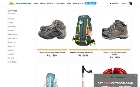 Screenshot of Products Page bikatadventures.com - Products - captured Nov. 22, 2016