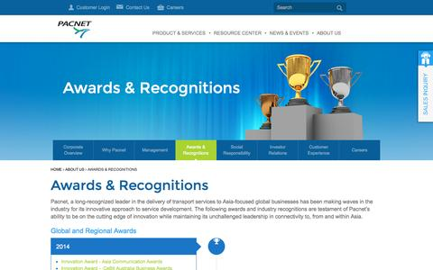 Screenshot of About Page pacnet.com - Awards & Recognitions - Pacnet - captured Oct. 28, 2014