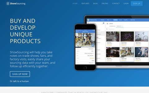 Screenshot of Home Page showsourcing.com - ShowSourcing - Take notes on trade shows, fairs and factory visits - captured July 8, 2018
