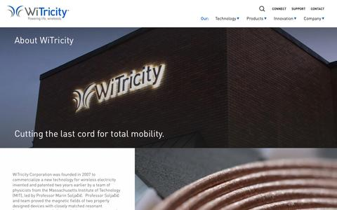 Screenshot of About Page witricity.com - Company - WiTricity - captured Feb. 11, 2017