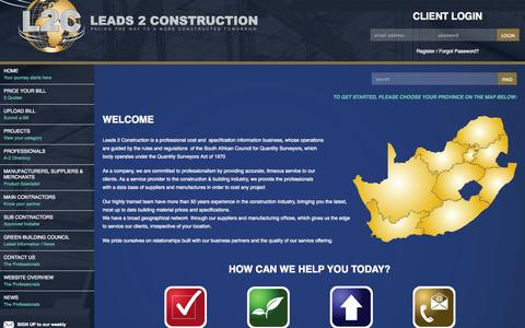 Screenshot of Pricing Page leads2construction.co.za - Leads 2 Construction - Pricing - captured Oct. 2, 2014