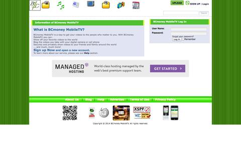Screenshot of Login Page bcmoney-mobiletv.com - BCmoney MobileTV - Share Your Videos - captured Sept. 30, 2014
