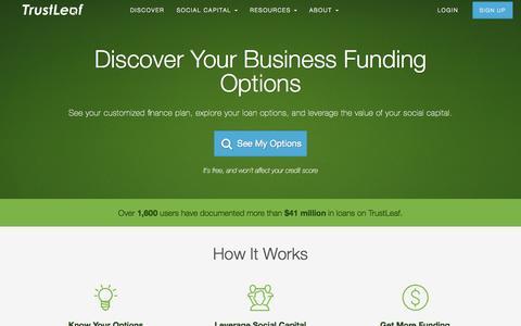 Screenshot of Home Page trustleaf.com - TrustLeaf - Discover Business Finance Options by Leveraging Social Capital - captured Sept. 22, 2015