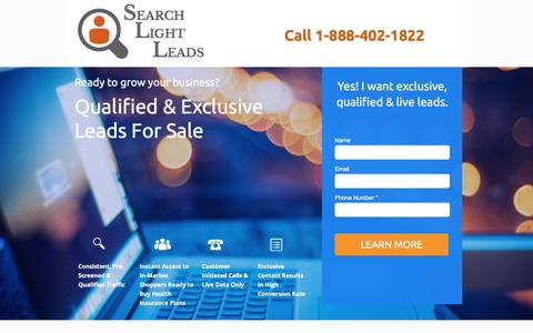 Screenshot of Landing Page searchlightleads.com - Leads for Sale  | Search Light Leads - captured Oct. 20, 2016