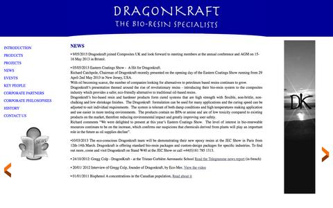 Screenshot of Press Page dragonkraft.com - Dragonkraft Europe ltd, News, bio composite, renewable resources, ecological, jec show, epoxy, resin, eco-poxy - captured Oct. 5, 2014