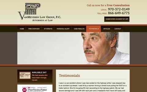 Screenshot of Testimonials Page vanmeverenlaw.com - Testimonials | VanMeveren Law Group, P.C. | Fort Collins - captured Oct. 26, 2014