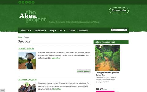 Screenshot of Products Page theakaaproject.org - Products | - captured Oct. 9, 2014