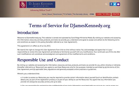 Screenshot of Terms Page djameskennedy.org - Terms of Service -                         D. James Kennedy Ministries - captured Aug. 24, 2016
