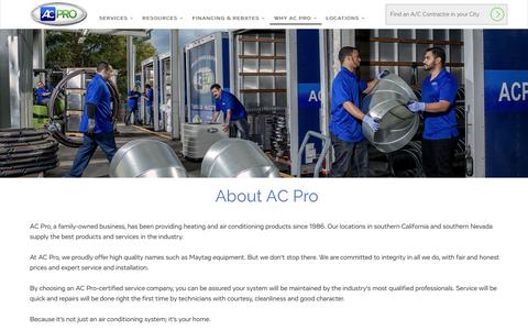 Screenshot of About Page acpro.com - What is AC Pro? About AC Pro Air Conditioning | AC Pro - captured Dec. 4, 2015