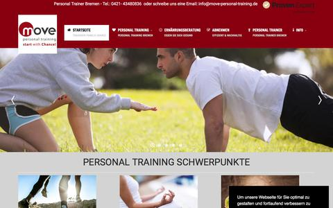 Screenshot of Home Page move-personal-training.de - Personal Trainer Bremen - Personal Trainer Pamela Chance bewegt - captured June 18, 2018