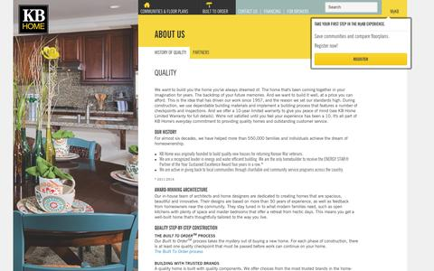 Screenshot of About Page kbhome.com - Our History of Quality | KB Home - captured Dec. 1, 2015