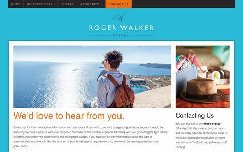 Screenshot of Contact Page rogerwalkertravel.com - Contact Us - Roger Walker Travel - captured June 16, 2017