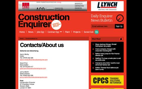 Screenshot of Contact Page constructionenquirer.com - Contacts/About us Ι   Construction Enquirer - captured Sept. 23, 2014