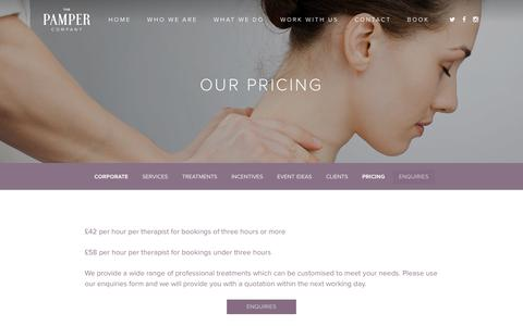 Screenshot of Pricing Page thepampercompany.co.uk - Pricing for The Pamper Company - captured Jan. 16, 2017