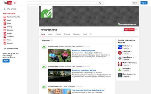 Screenshot of YouTube Page youtube.com - newgrassnews  - YouTube - captured Nov. 5, 2014