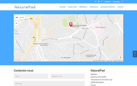 Screenshot of Contact Page naturalpad.fr - Contact - NaturalPad @ Euromov - captured Aug. 18, 2016