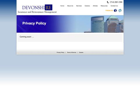 Screenshot of Privacy Page devonshiregroup.com - Privacy Policy | Devonshire - captured Sept. 30, 2014
