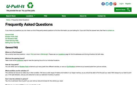 Screenshot of FAQ Page u-pull-it.co.uk - Frequently Asked Questions| U-Pull-It Breakers Yards - captured Nov. 17, 2016