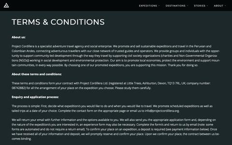Screenshot of Terms Page projectcordillera.org - Terms & Conditions - Project Cordillera - captured Dec. 7, 2018