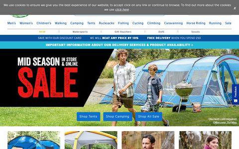 Screenshot of Home Page gooutdoors.co.uk - GO Outdoors | Tents & Camping Equipment | Outdoor Clothing | Walking Boots - captured May 18, 2019