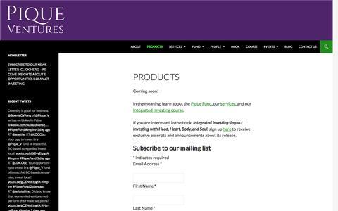 Screenshot of Products Page piqueventures.com - Products   Pique Ventures - captured Jan. 28, 2016