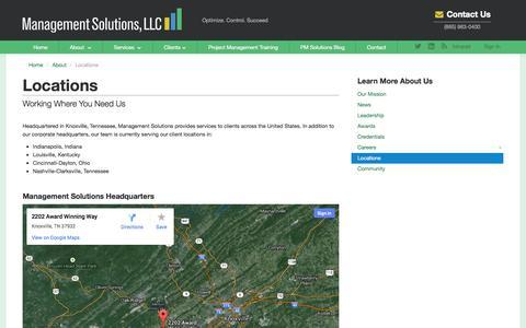 Screenshot of Locations Page managementsolutionsllc.com - Locations - captured Sept. 30, 2014